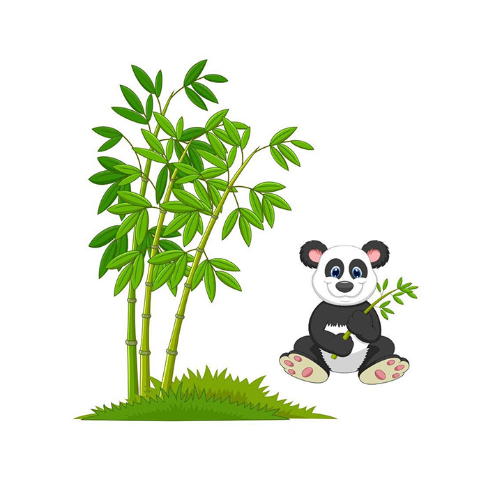 Decals Design 'Cute Little Animals Panda on Bamboo Trees' Wall Sticker