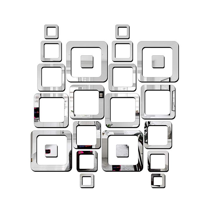 Bikri Kendra® - 4 Set Silver Square - 3D Acrylic Decorative Mirror Stickers