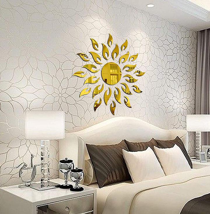 Bikri Kendra® - Sun Golden - 3D Acrylic Decorative Mirror Wall Sticker