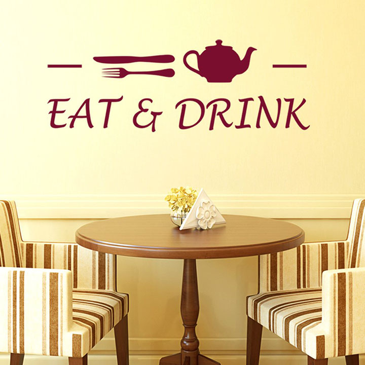 'Cafe Eat and Drink' Wall Sticker