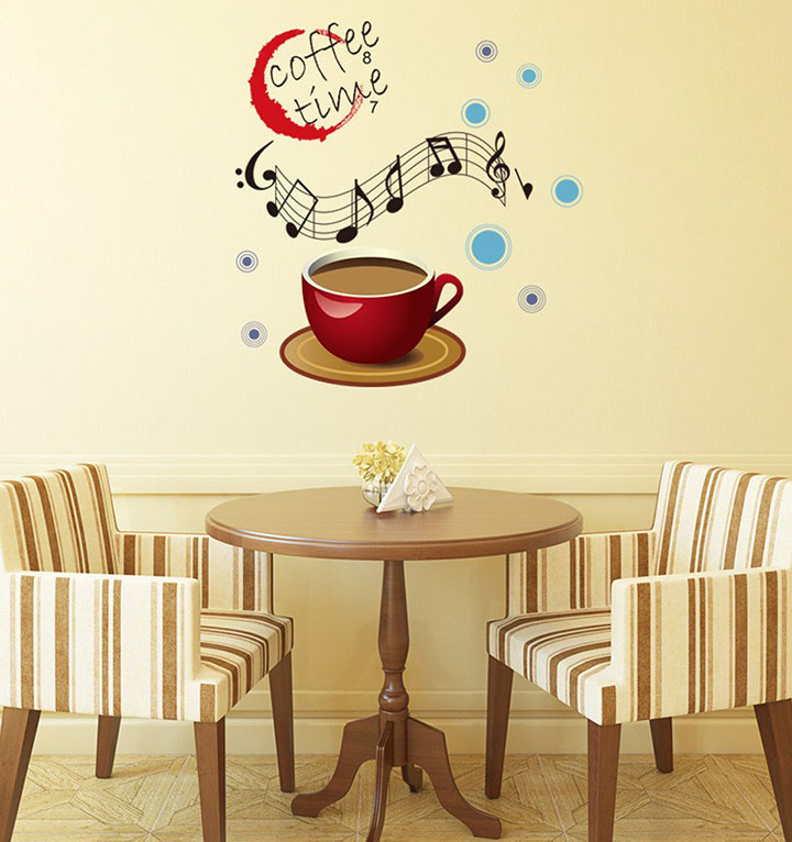 'Coffee Time with Musical Notes' Wall Sticker