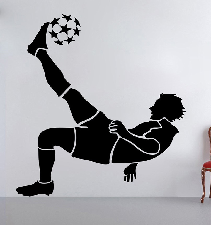 decor kafe decal style football player wall sticker