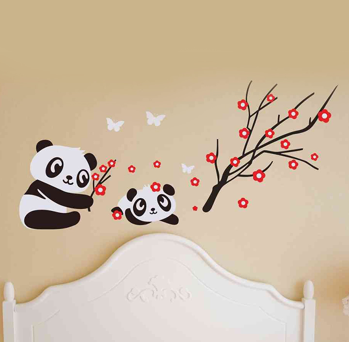 Decals Design 'Animal Panda with Baby Butterflies and Red Flowers' Wall Sticker