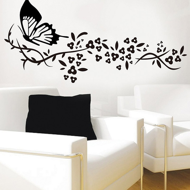 Decals Design 'Butterfly with Flowers' Wall Sticker