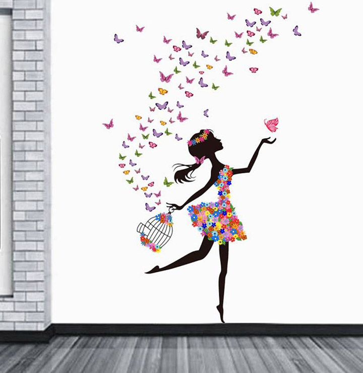 Decals Design 'Dreamy Girl with Flying Colorful Butterflies' Wall Sticker