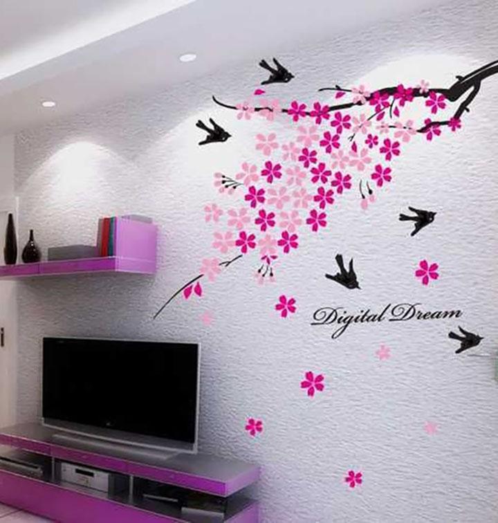 decals design flower branch with birds wall sticker