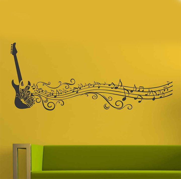 Decals Design 'Musical Notes of Guitar and Butterfly for Music Lovers' Wall Sticker