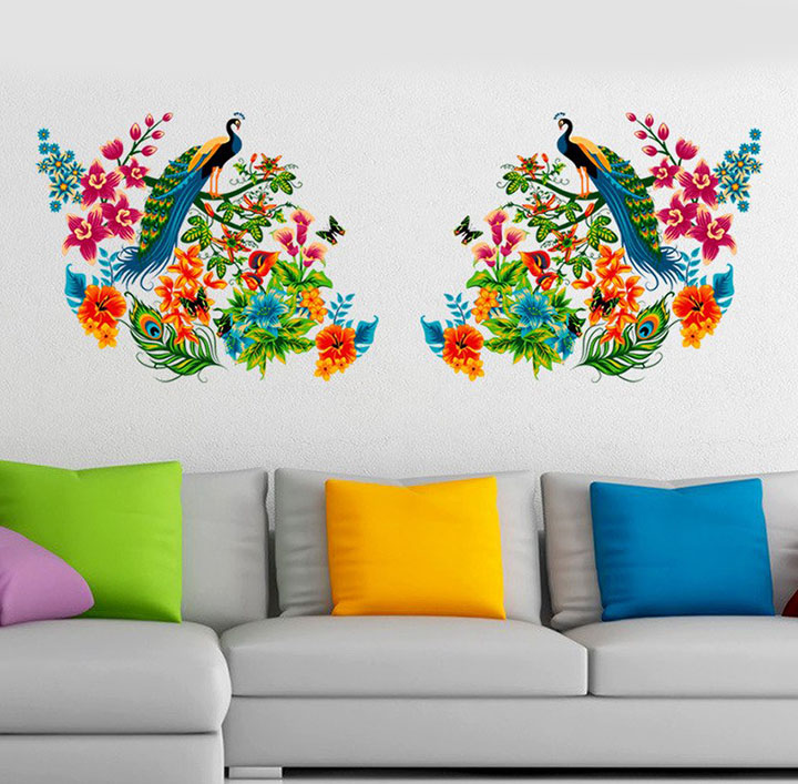 Decals Design 'Peacock Birds on Branch Leaves' Wall Sticker