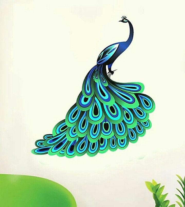 Decals Design 'Unique Blue Peacock' Wall Sticker