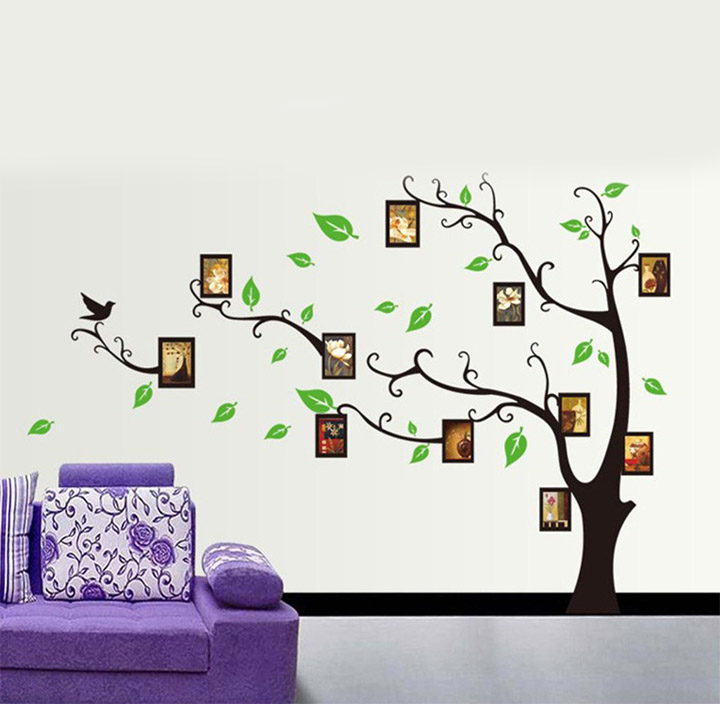 decorative tree wall stickers with photo frames