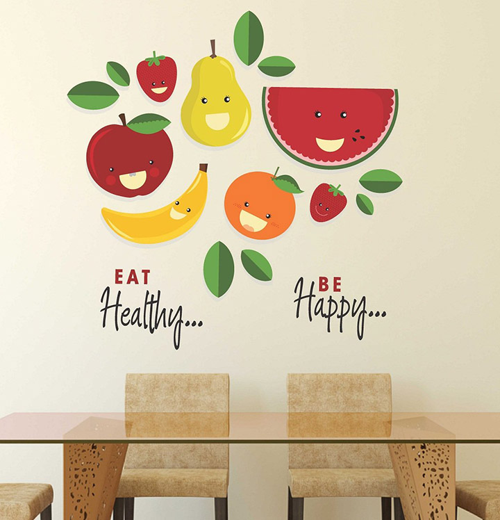 'Eat Healthy Be Happy' Wall Sticker