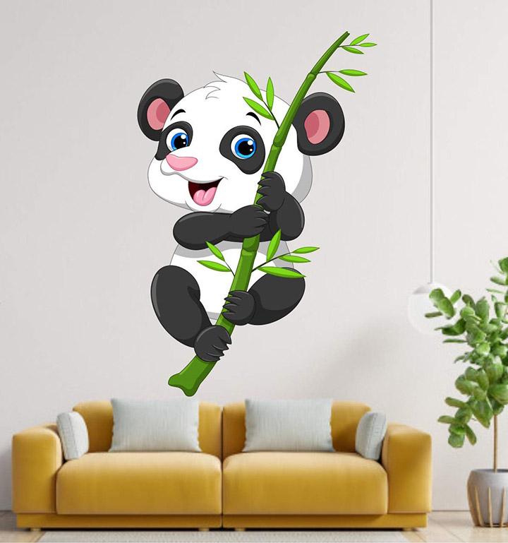 Heaven Decors PVC Vinyl Panda Baby on Bamboo Tree Sticker