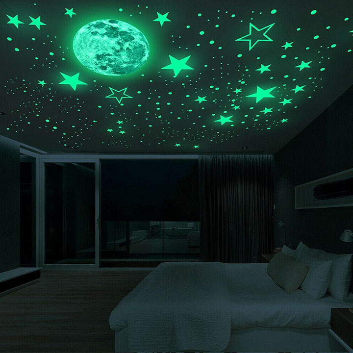 Medium Galaxy of Stars Big Size Moon with Stars Radium Night Glow