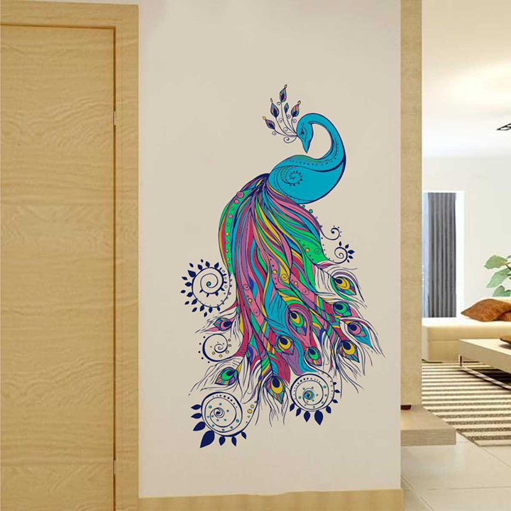 Rawpockets Bluish Peacock' Wall Sticker