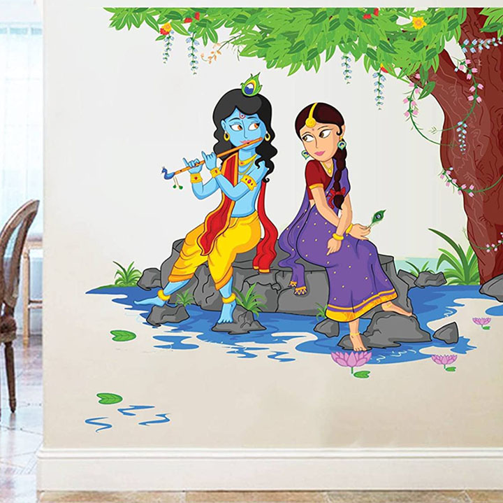 Rawpockets Decals 'Lord Krishna Playing Flute with Radha on River Bed' Wall Sticker