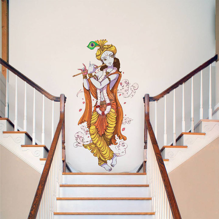 Rawpockets Decals 'Lord Krishna with Flute' Wall Sticker