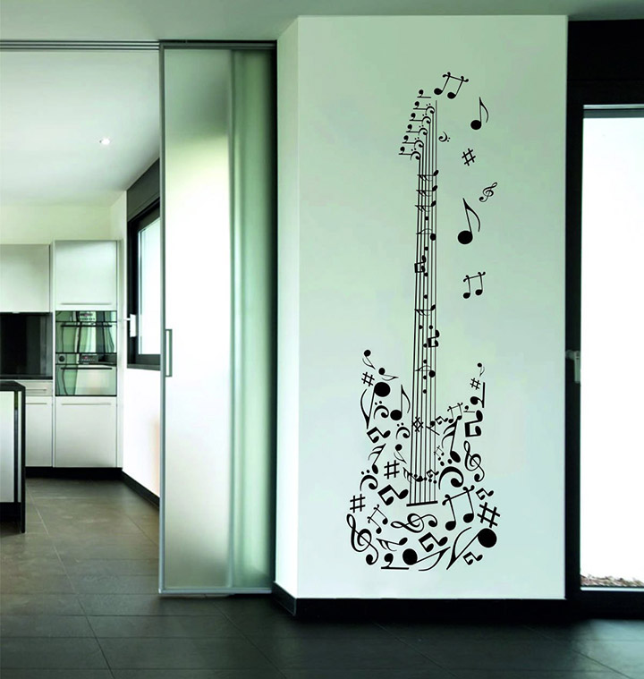 Rawpockets Music Quote and Guitar' Wall Sticker