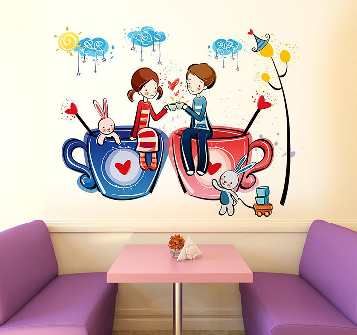 romantic cartoon couple on cups' wall sticker