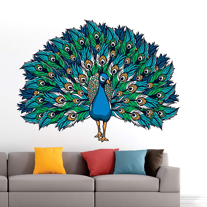 StickMe 'Beautiful - Peacock - King of Birds - Nature - Creative - Colorful Wall Sticker