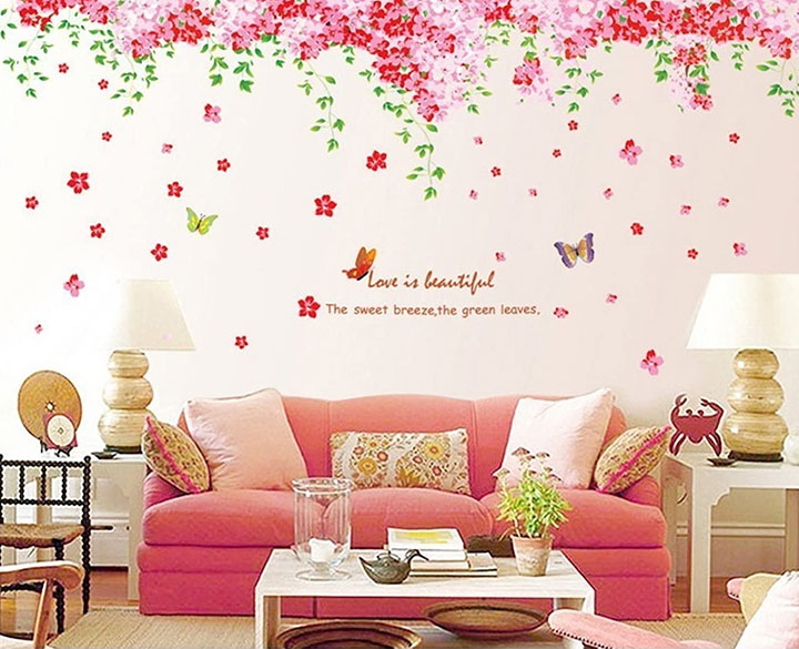 Syga Cherry Blossom Flowers Tree Design Decals Wall Stickers