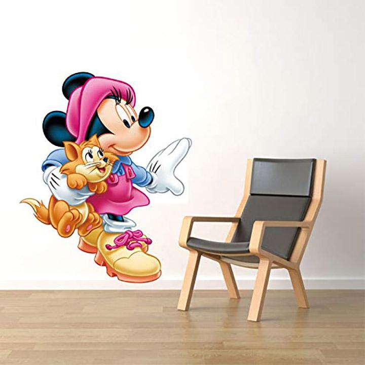 Techgifti™ Little Mickey Mouse With Cute Cat Cartoon Wall Sticker