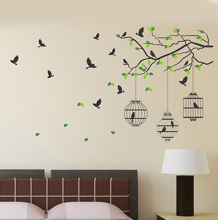 tree branch with leaves bird and cage wall sticker