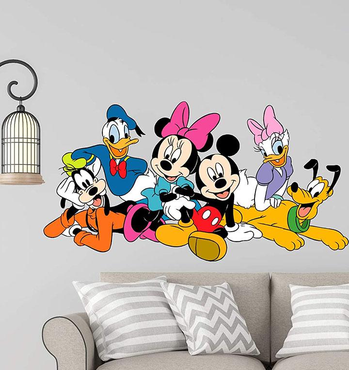 Wall guru Disney Cartoon Group Mickey Mouse,Minnie Mouse, Donald Duck Wall Sticker PVC Vinyl Wall Sticker