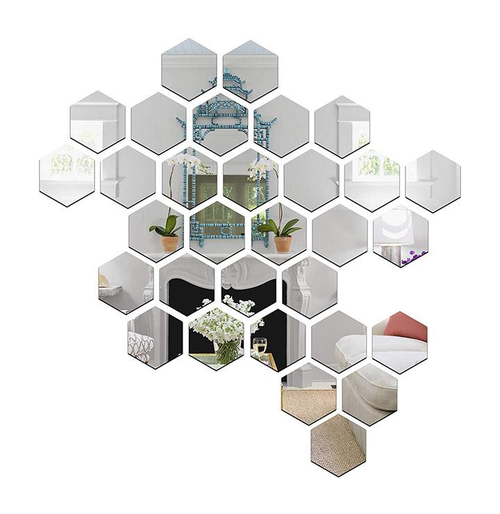 Wall1ders - 31 Hexagon & 10 Butterflies Silver (Size 10.5 x 12 cm) 3D Acrylic Stickers, 3D Acrylic Mirror Wall Stickers