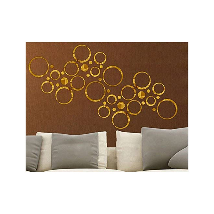 Wall1ders - 40 Rings Seven Size Golden 3D Acrylic Stickers