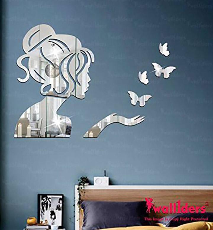 Wall1ders - Angel & 4 Butterflies Silver 3D Acrylic Stickers