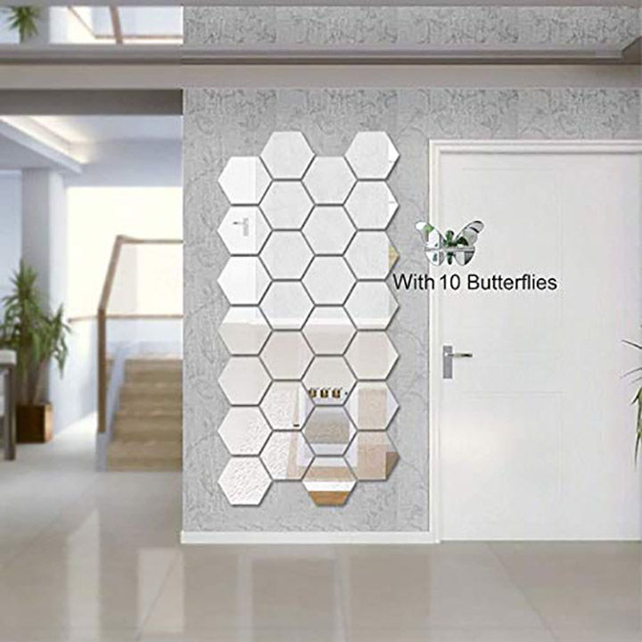 Wall1ders Atulya Arts 3D Hexagon Acrylic Decorative Wall-Stickers with 10 Butterfly Stickers
