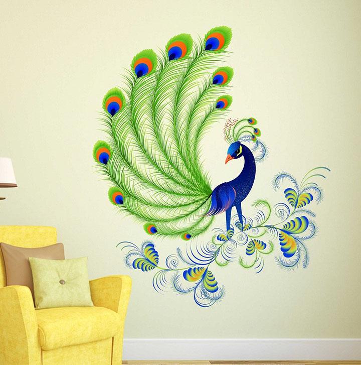 Wallstick 'Beautiful Peacock' Wall Sticker