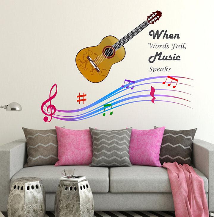 wallstick 'when world fail music speak' wall sticker
