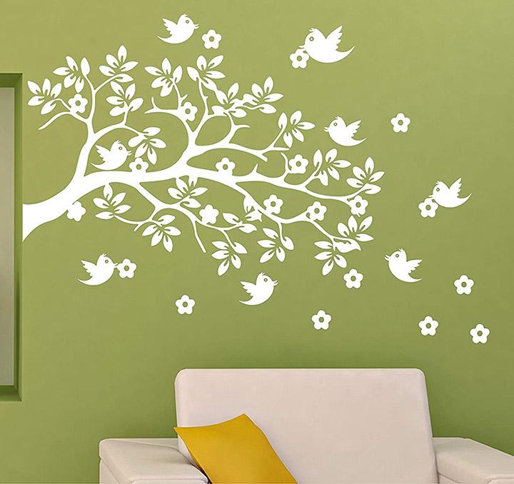 bird on white tree wall decal for dark walls wall sticker