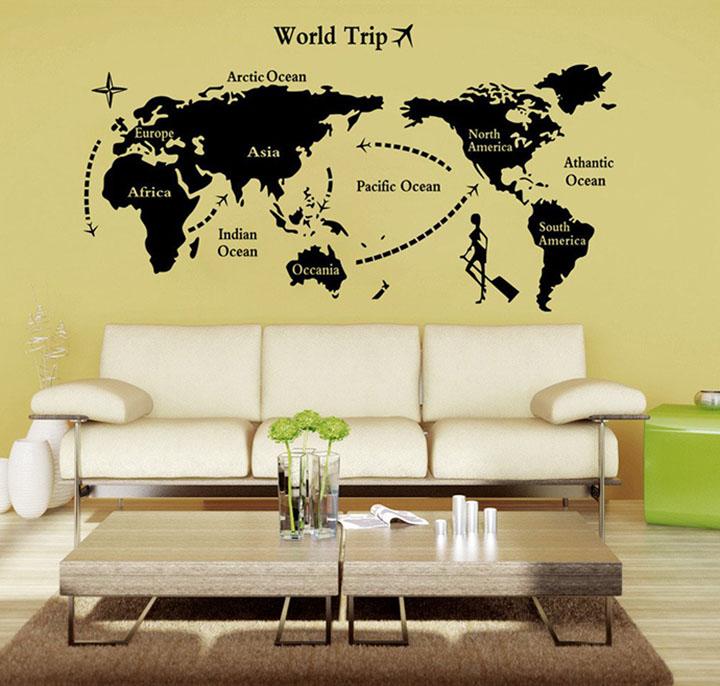 black world map wall sticker