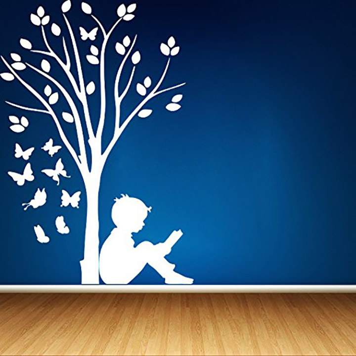 boy reading under tree and butterflies' for blue wall, qall sticker