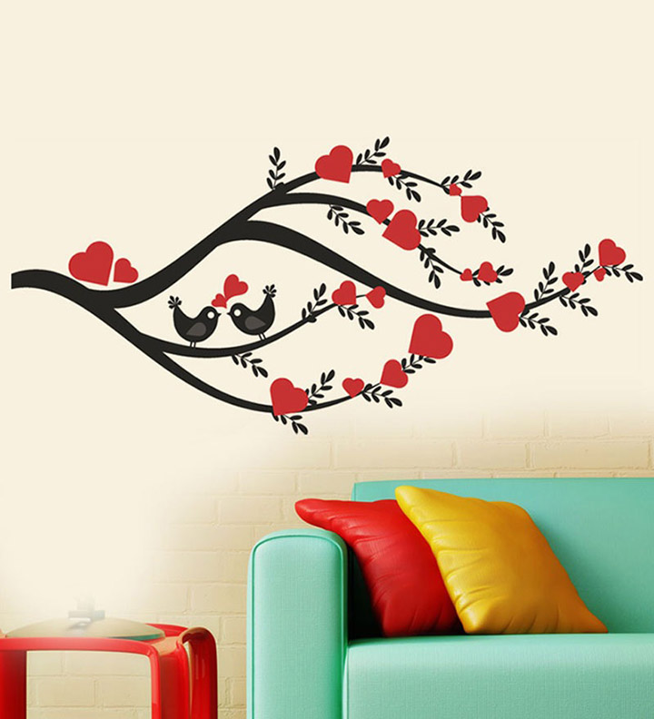branches of leaves and hearts wall sticker