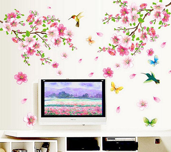 decals design 'flowers branch' wall sticker
