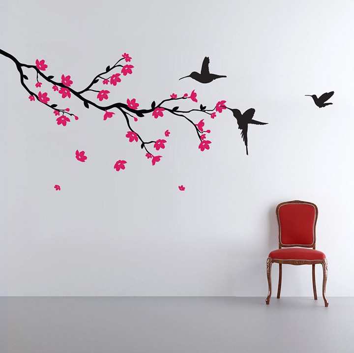 decals design 'humming birds and blossoms' wall sticker