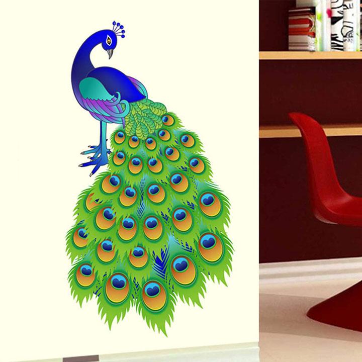 decals design 'slender peacock' wall sticker