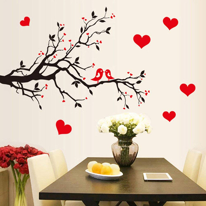decorative branch with red hearts wall sticker