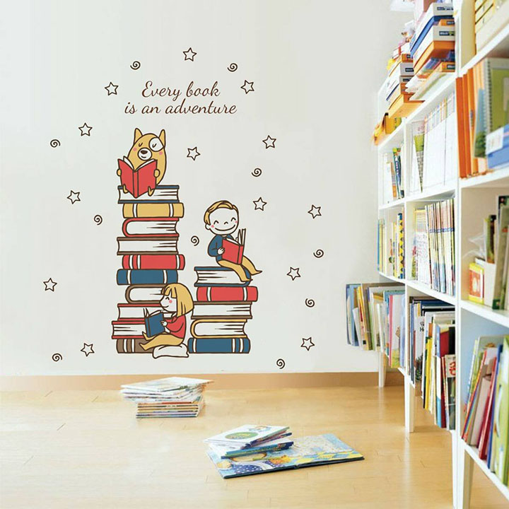 every book is an adventure quote' wall sticker