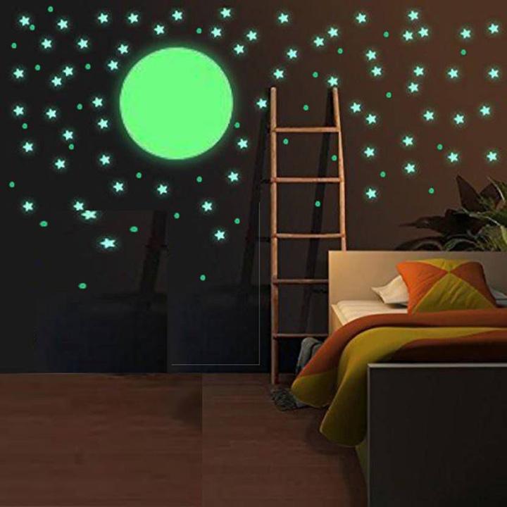 fluorescent night glow in the dark star wall sticker
