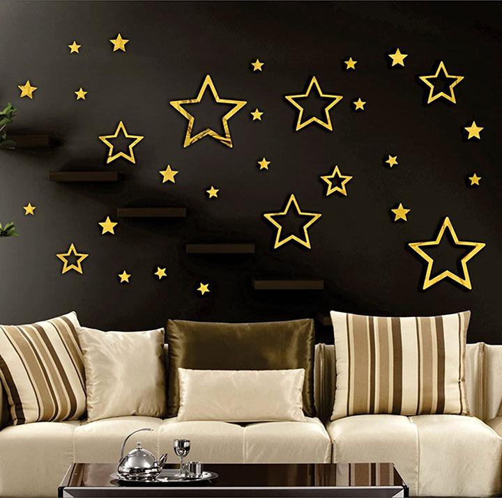 golden star wall sticker