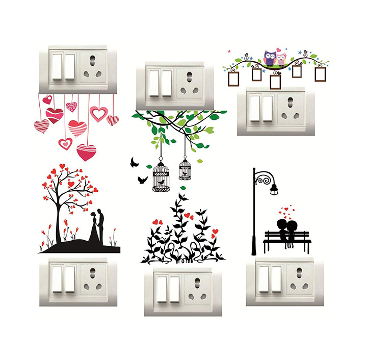 heart and trees switchboard wall sticker