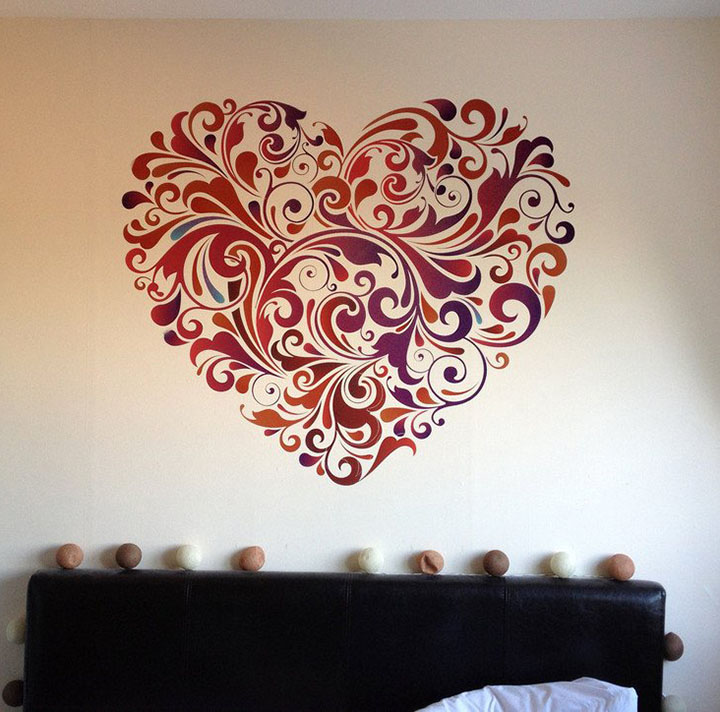 'heart floral' wall sticker