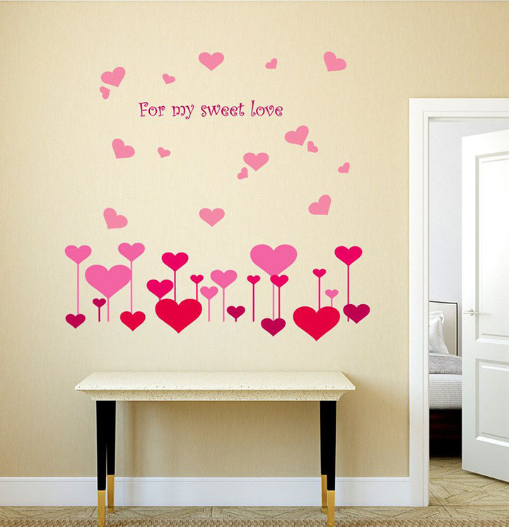 hearts for my sweet love wall sticker