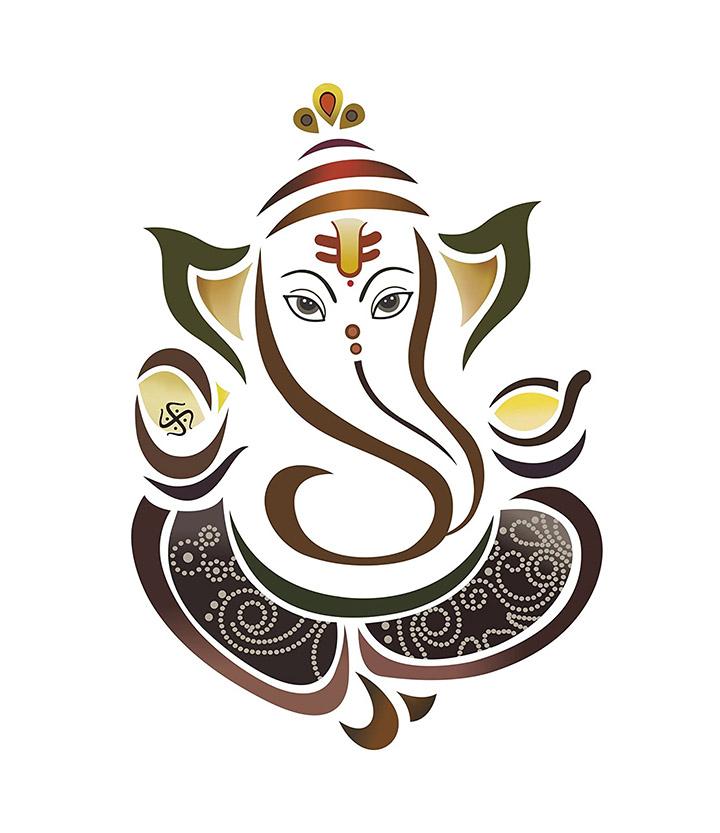 'modern elegant ganesha god' wall sticker