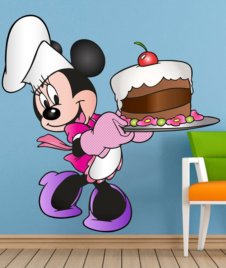pk Mickey Mouse Birthday Cake Disney 3D Cartoon PVC Vinyl Wall Sticker