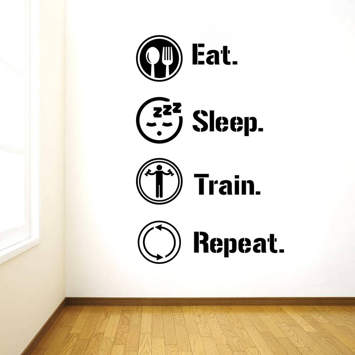 rawpockets 'eat sleep train repeat gym quote' wall sticker